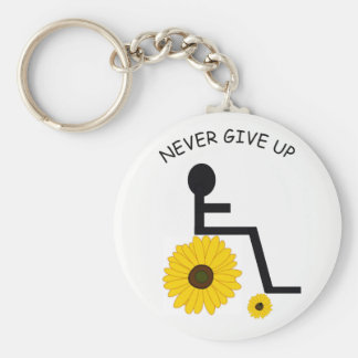 Never give up sunflower keychain