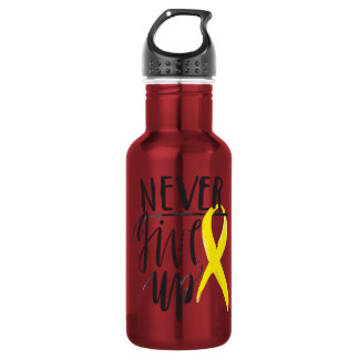NEVER GIVE UP Water Bottle (18 oz), Red