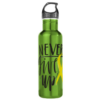 NEVER GIVE UP Water Bottle (24 oz), Apple
