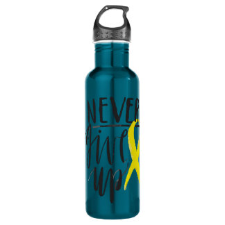 NEVER GIVE UP Water Bottle (24 oz), Electric Blue