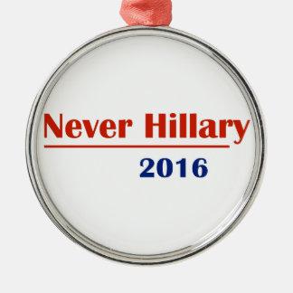 Never Hillary 2016 Silver-Colored Round Ornament