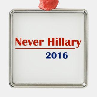 Never Hillary 2016 Silver-Colored Square Ornament