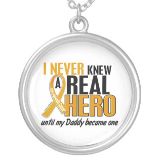 Never Knew a Hero 2 Daddy Appendix Cancer Round Pendant Necklace