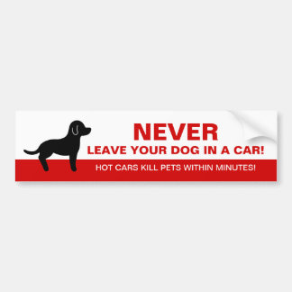 Never Leave Your Dog In A Car With Dog Silhouette Bumper Sticker