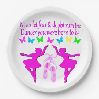 NEVER LET FEAR STOP THIS DAZZLING DANCER DESIGN 9 INCH PAPER PLATE