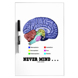 Never Mind ... (Brain Anatomy Psyche Humor) Dry Erase Board