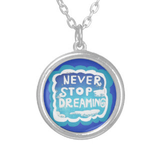 Never Stop Dreaming Blue White Clouds Necklace