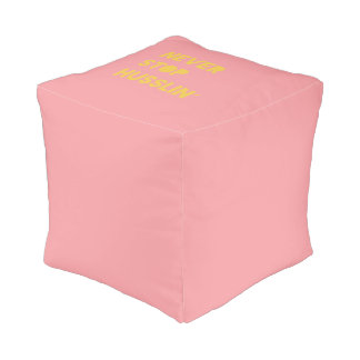 Never Stop Husslin Motivational Quote Pink Yellow Pouf