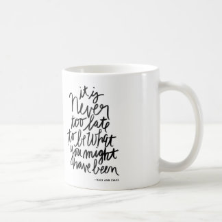 Never too Late Mug  | black and white quote