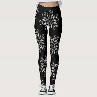 *~* Never Too Many Snowflakes Black & White Leggings