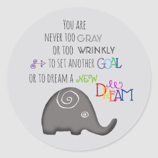 Never too Old Artistic Spiral Elephant Inspiration Classic Round Sticker