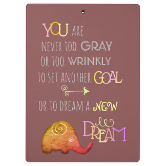 Never too Old Artistic Spiral Elephant Inspiration Clipboard