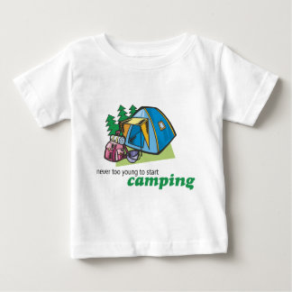 Never Too Young to Start Camping Baby T-Shirt