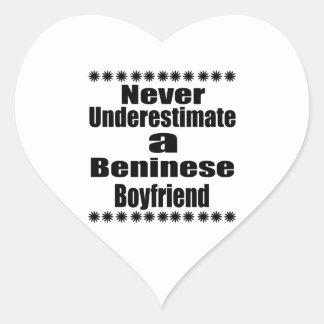 Never Underestimate A Beninese Boyfriend Heart Sticker