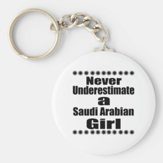 Never Underestimate A Saudi Arabian Girlfriend Basic Round Button Keychain