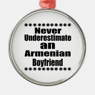 Never Underestimate An Armenian Boyfriend Silver-Colored Round Ornament