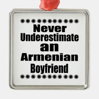 Never Underestimate An Armenian Boyfriend Silver-Colored Square Ornament