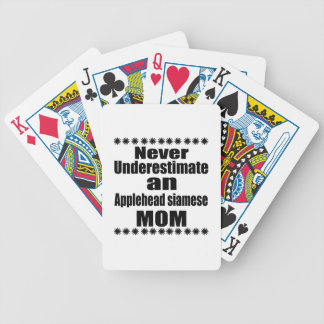 Never Underestimate Applehead siamese Mom Bicycle Playing Cards