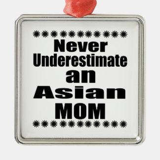 Never Underestimate Asian Mom Silver-Colored Square Ornament