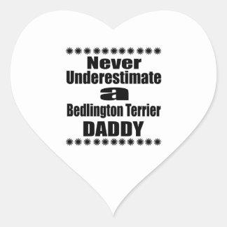 Never Underestimate Bedlington Terrier Daddy Heart Sticker