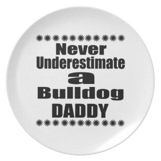 Never Underestimate Bulldog Daddy Plate
