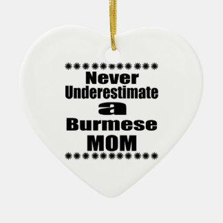 Never Underestimate Burmese Mom Ceramic Ornament