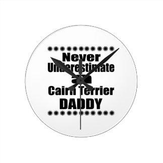 Never Underestimate Cairn Terrier Daddy Round Clock