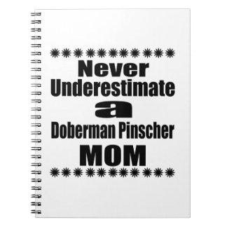 Never Underestimate Doberman Pinscher  Mom Spiral Notebook