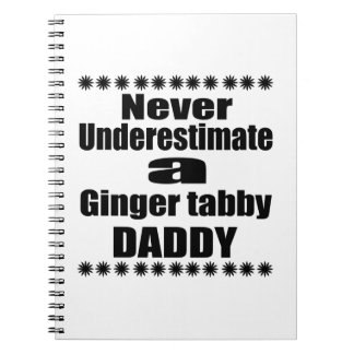 Never Underestimate Ginger tabby Daddy Spiral Notebook