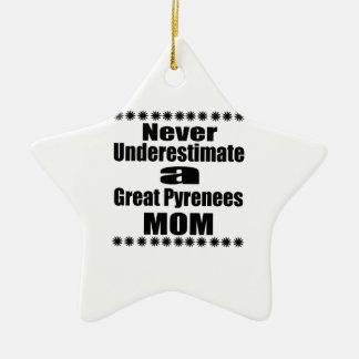Never Underestimate Great Pyrenees Mom Ceramic Ornament