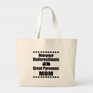 Never Underestimate Great Pyrenees Mom Large Tote Bag