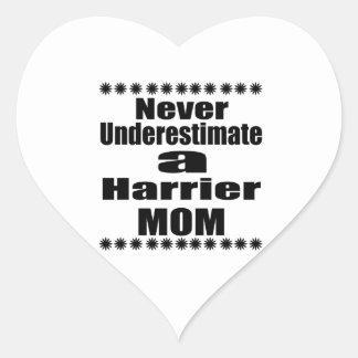 Never Underestimate Harrier Mom Heart Sticker