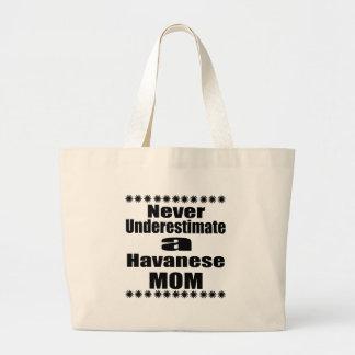 Never Underestimate Havanese Mom Large Tote Bag