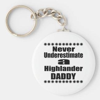 Never Underestimate Highlander Daddy Keychain
