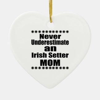 Never Underestimate Irish Setter Mom Ceramic Heart Ornament