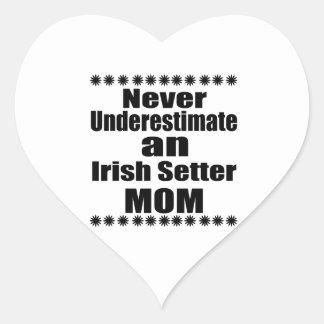 Never Underestimate Irish Setter Mom Heart Sticker