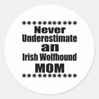 Never Underestimate Irish Wolfhound Mom Classic Round Sticker