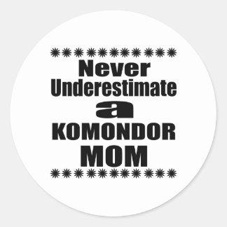 Never Underestimate KOMONDOR Mom Classic Round Sticker