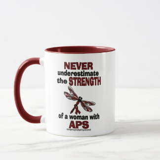 Never Underestimate...Woman/Dragonfly...APS Mug