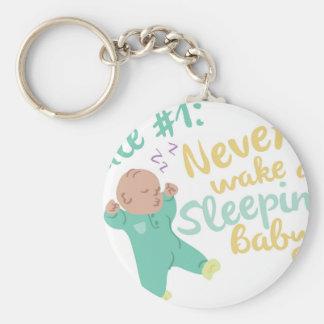 Never Wake Baby Basic Round Button Keychain