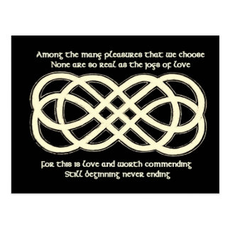 Neverending Celtic Knot and traditional poem Postcard