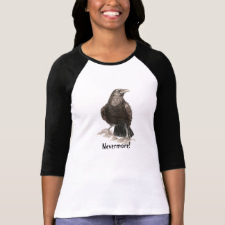 Nevermore, Edgar Allen Poe Raven, Watercolor T-Shirt