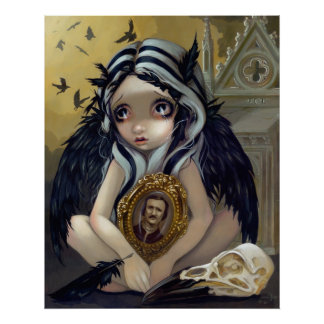 Nevermore gothic Poe Raven fairy Art Print