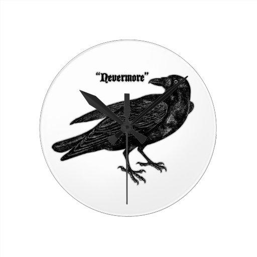 Nevermore Raven Round Clock