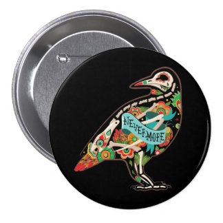 Nevermore Sugar Skull Raven 3 Inch Round Button