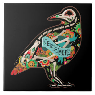 Nevermore Sugar Skull Raven Tile
