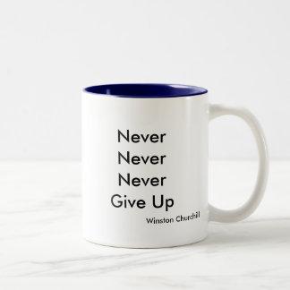 NeverNeverNeverGive Up, Winston Churchill Two-Tone Coffee Mug