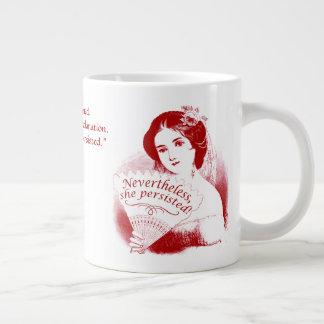 Nevertheless, She Persisted Victorian Lady & Fan 7 Large Coffee Mug