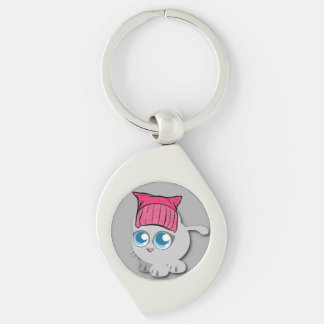 Nevertheless, she PURRsisted. (Persisted) Silver-Colored Swirl Keychain