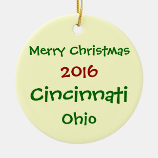NEW 2016 CINCINNATI OHIO MERRY CHRISTMAS ORNAMENT